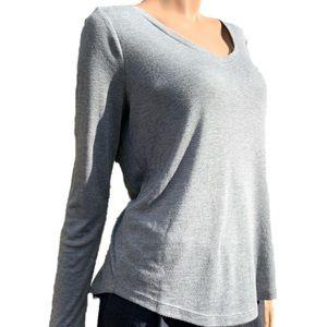 Loft Long Sleeve Grey Shirttail Tee